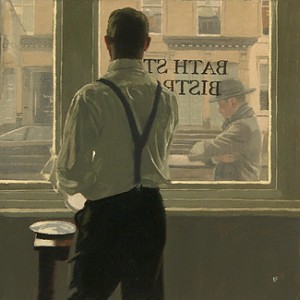 "Iain Faulkner ""Preparing for Lunch"" 2004, oil on canvas, 12"" x 12"""