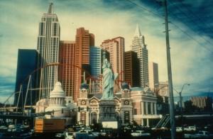"""New York, Las Vegas"" Las Vegas, Nevada, Polacolor transfer, 30"" x 36"" x 1 1/2"""