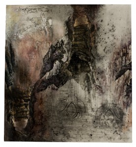 """The Hanging"" 2004-2009, watercolor, ink, intaglio prints, charcoal, graphite, 26.75"" x 24.75"""