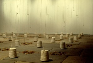 """The Present Absent"" 2004, spools, needles, leaves, 17' x 18' x 7'"