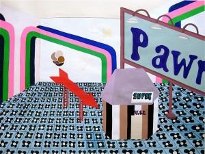 """""""Village Scene"""" 2008, gouache on paper, 17"""" x 24"""" Courtesy Arturo & Liza Mosquera, Miami"""