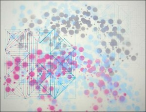 "press n' fold crease pattern (1 of 9) 2011, screen print, spray paint, pencil on panel, 12"" x 12"""