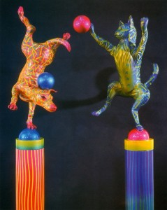 "George Snyder / Dan Meyer ""Top Dog"" and ""Pole Cat"" 2003, cast resin, 84"" high"