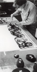 """John Cage working on """"New River Watercolors"""" 1988, photograph by Charles Bultman II, courtesy of John Cage Trust"""